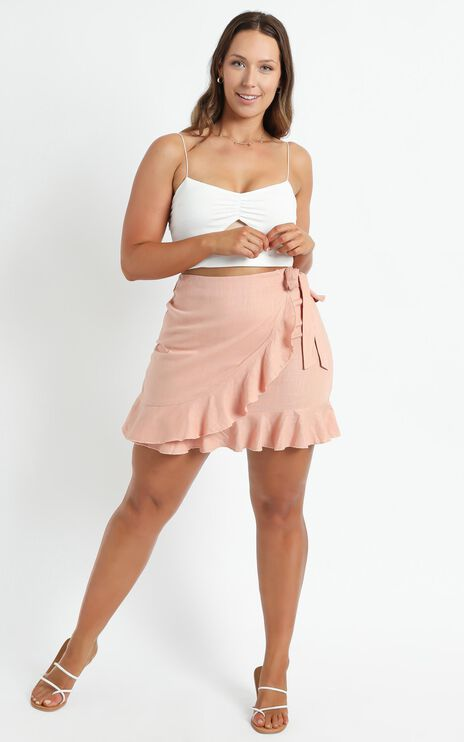 Over And Under Skirt In Dusty Rose Linen Look