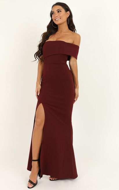 Glamour Girl Maxi Dress in burgundy - 20 (XXXXL), Wine, hi-res image number null