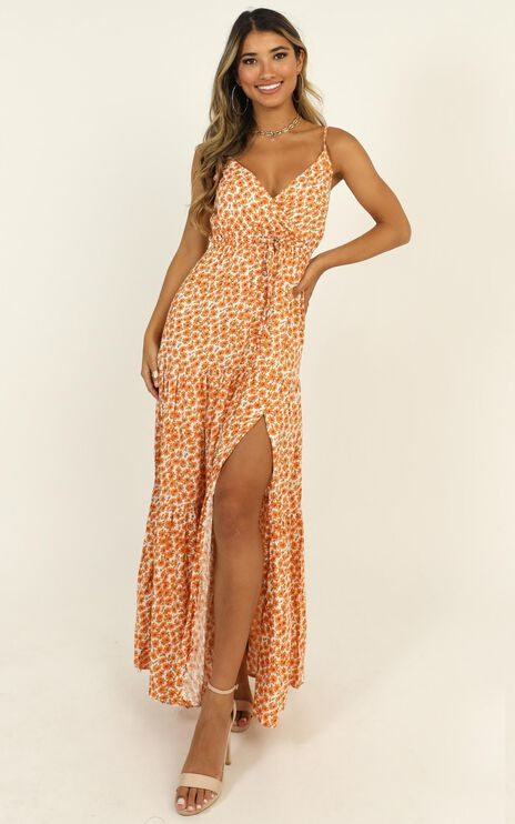 Watch The Sunset Dress In Orange Floral