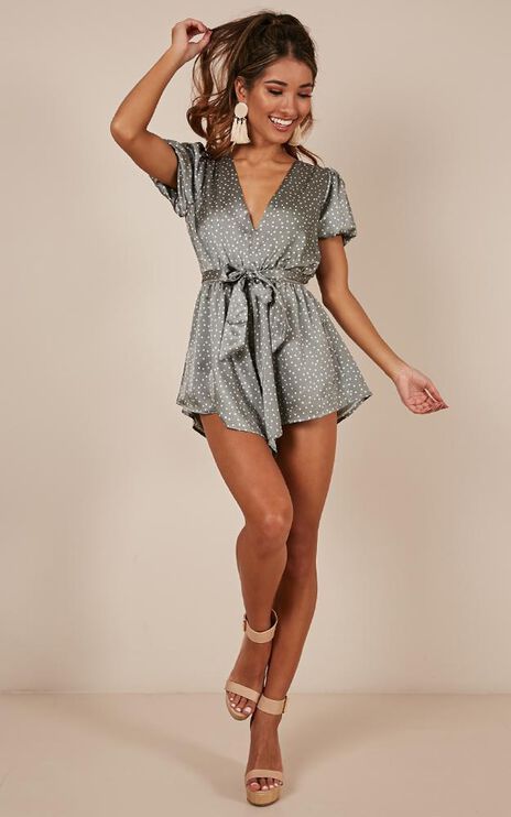 Hello Its Me Playsuit In Khaki Spot Satin