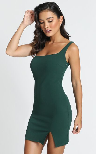 Paola One Shoulder Mini Dress in emerald - 12 (L), Green, hi-res image number null