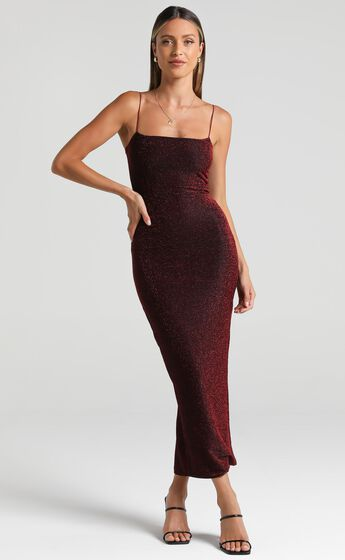 Keep The Party Going Dress in Wine Lurex
