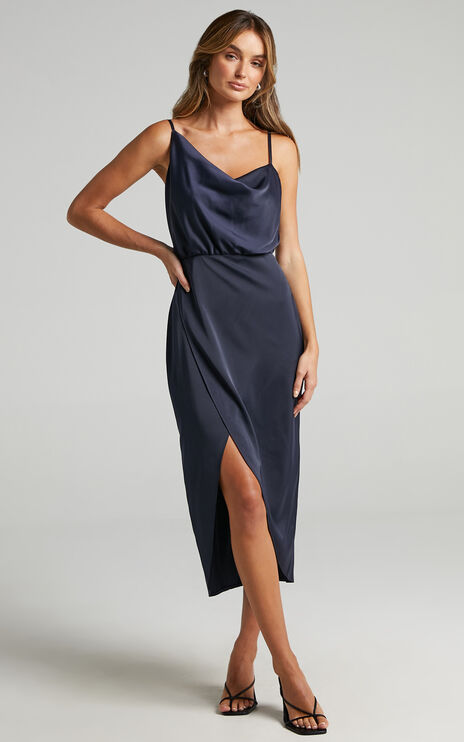 Sisters by Heart Dress in Navy Satin