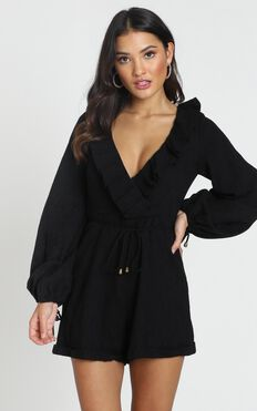 Katya V Neck Playsuit In Black