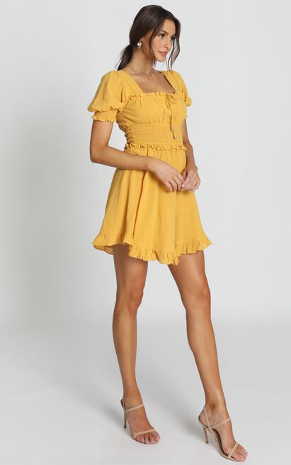 Niamh Ruffle Mini Dress in yellow - 12 (L), Yellow, hi-res image number null