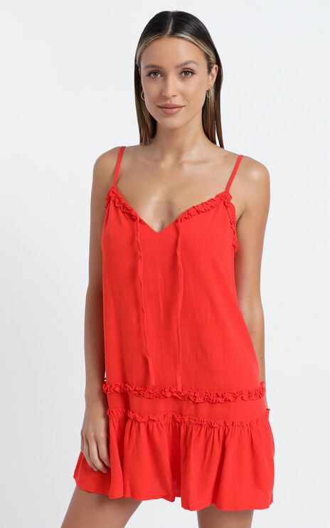 Olinda Dress in Red Linen Look