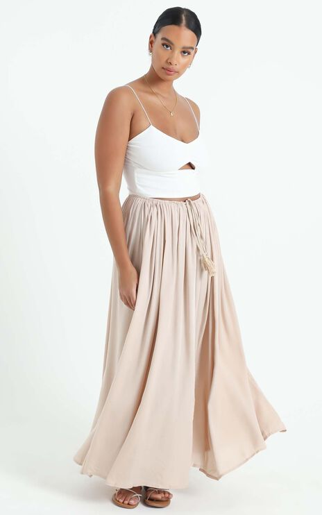 Under The Twilight Maxi Skirt In Beige