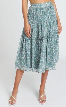 Cosmic Girl Skirt in Teal Floral
