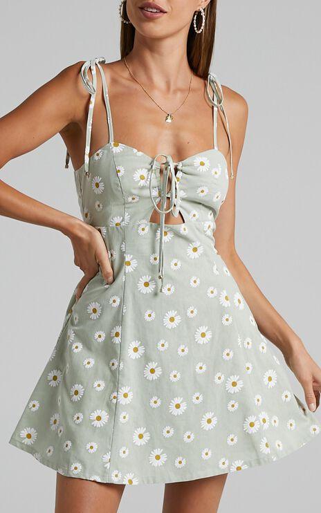 Olenna Dress in Sage Daisies