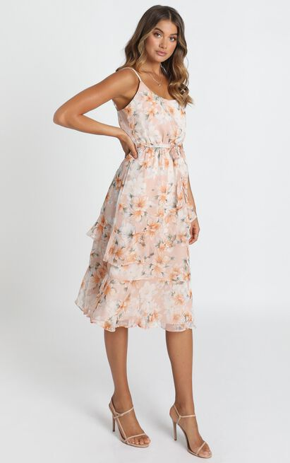 Dinah Frill Detail Midi Dress in blush floral - 12 (L), Blush, hi-res image number null