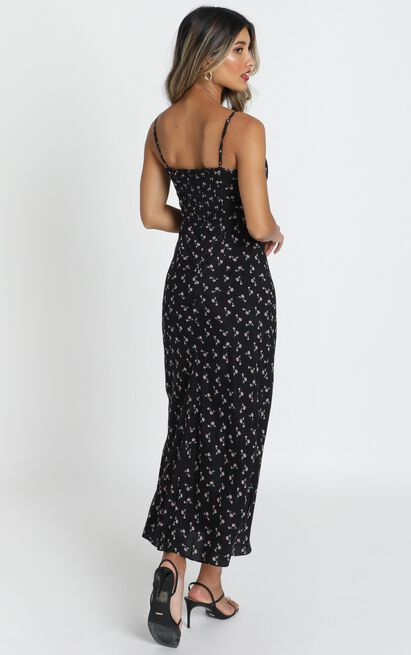 Imani Midi  Dress in black floral - 12 (L), Black, hi-res image number null