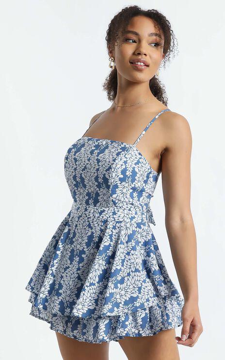 Sheri Playsuit in Blue Floral
