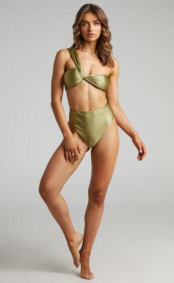 Lexii Twist Front one shoulder Bikini Top in Olive
