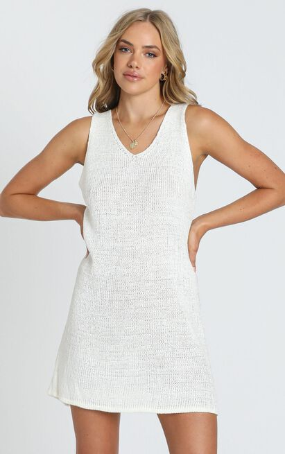 Jamie Knit Dress in White - XS/S, White, hi-res image number null