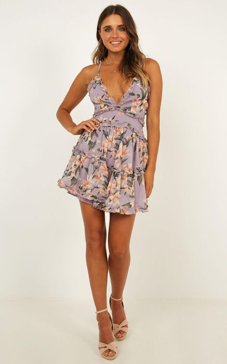 See You In My Dreams Dress In Lavender floral