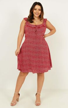 Not My Issue Dress In Red Floral