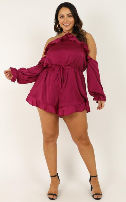 This Is Everything Playsuit in berry satin- 16 (XXL), Pink, hi-res image number null