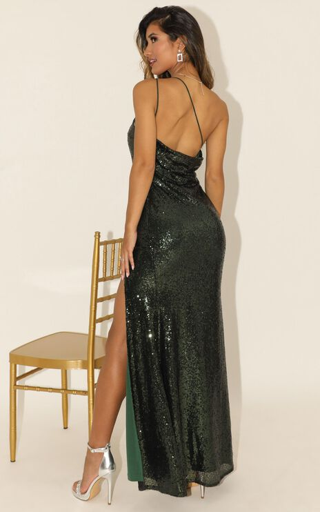 Started Singing Dress In Emerald Sequin