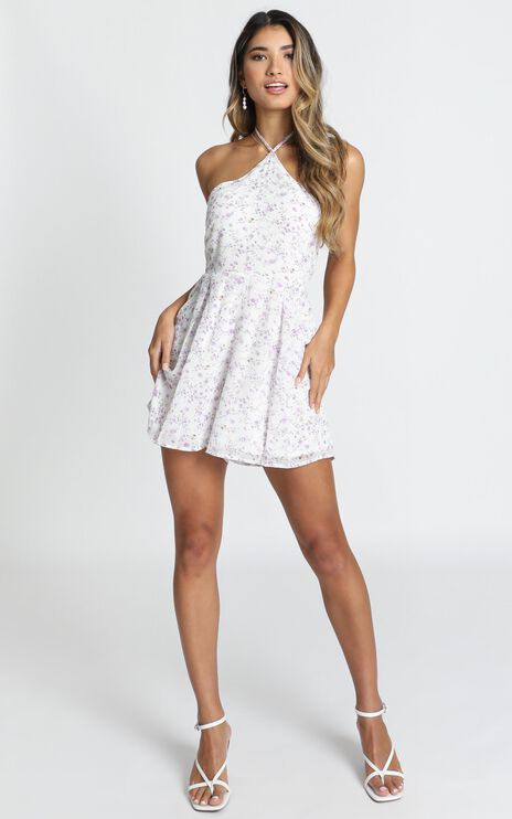 Mirror Of The Mind Playsuit In White Floral