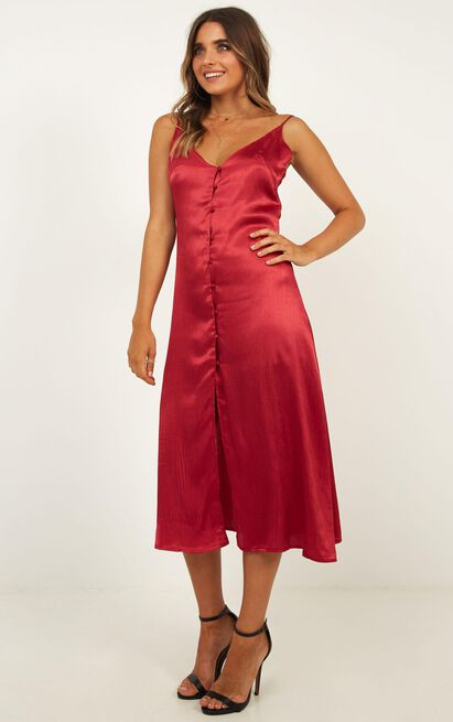 Amour dress in burgundy satin - 18 (XXXL), Wine, hi-res image number null
