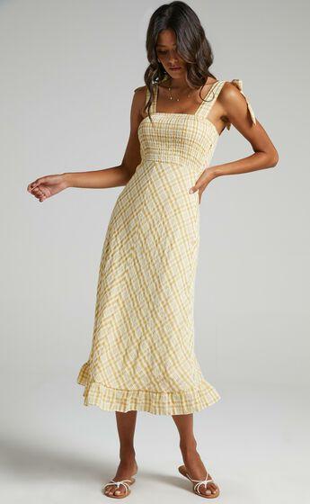 Regan Dress in Mustard Check
