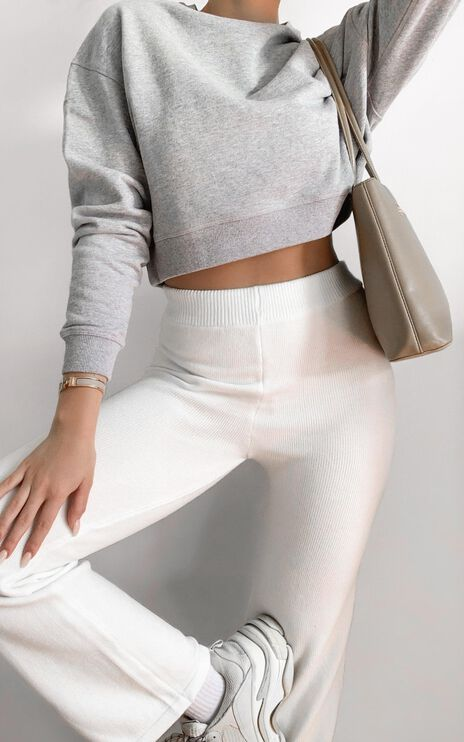 AS Colour - Crop Crew in Grey Marle