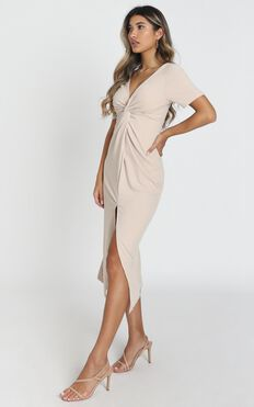 Press Rewind Dress In Beige