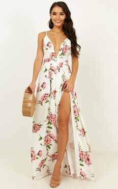 You Be You Dress In White Floral