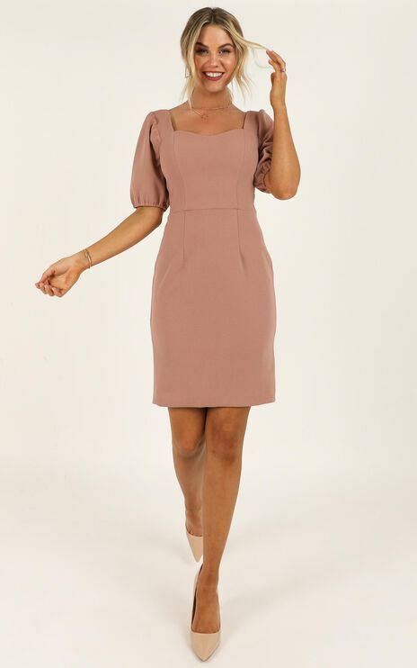 Conference Call Dress In Mocha