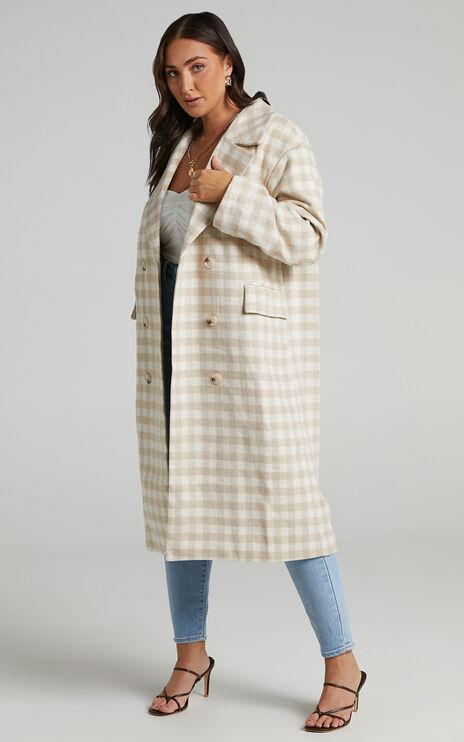 Lantana Coat in Beige Check