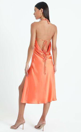Florentina Dress in Orange Satin