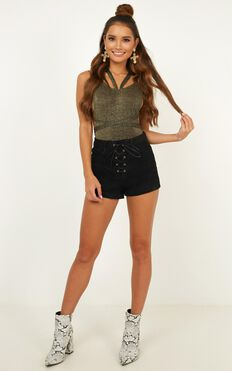 Tamsin Denim Shorts In Black Wash