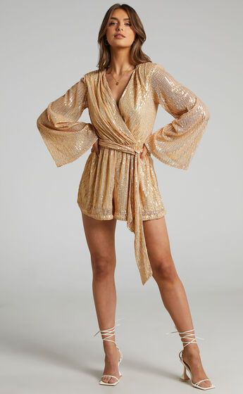 Lizzell Sequin Wrap Playsuit in Gold Sequin