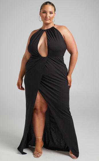 Banneth Open Front Formal Dress in Black