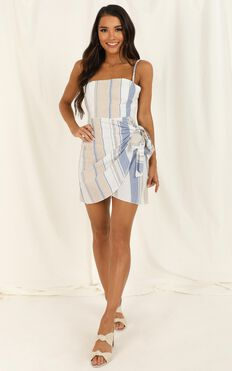 Accelerate Dress In Blue Stripe Linen Look