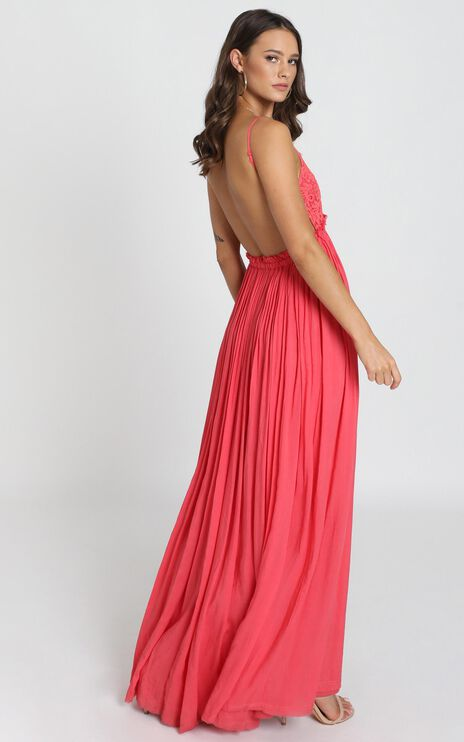 When In Rome Backless Maxi Dress In Coral Lace