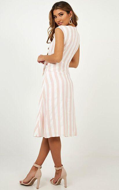 By The Dozen Dress in blush stripe - 14 (XL), Blush, hi-res image number null