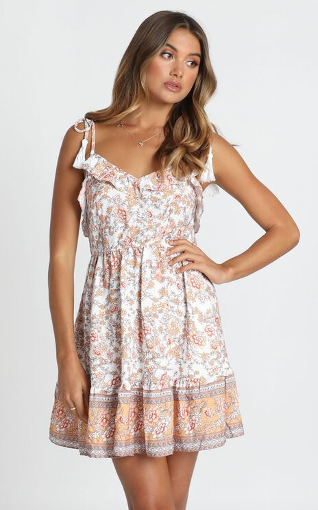 Lillian Tie Strap Dress In White Floral
