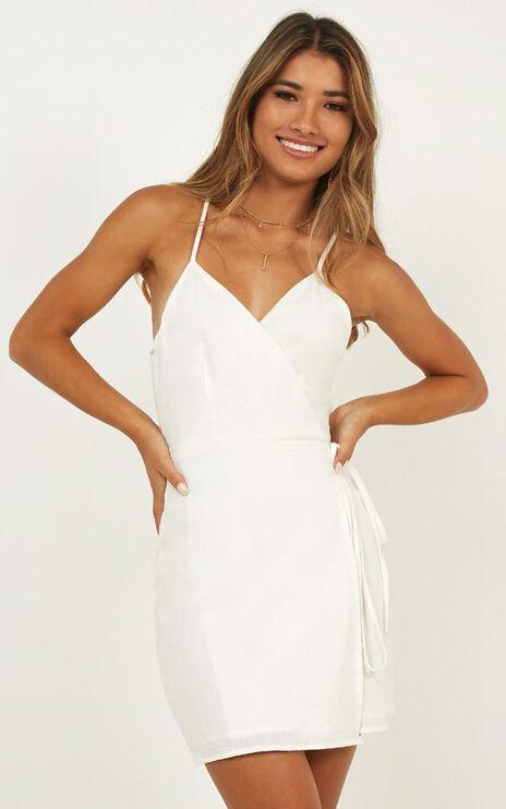 Whisper It Dress In White Linen Look