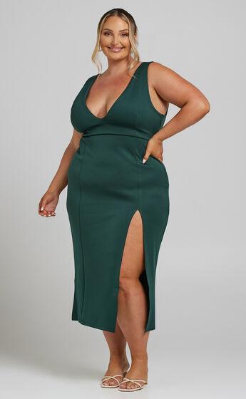 Calliope Plunge Neck Midi Dress with Split in Emerald