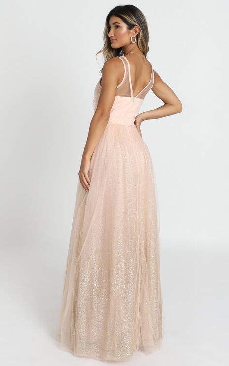 Riley Maxi Dress In Blush Glitter