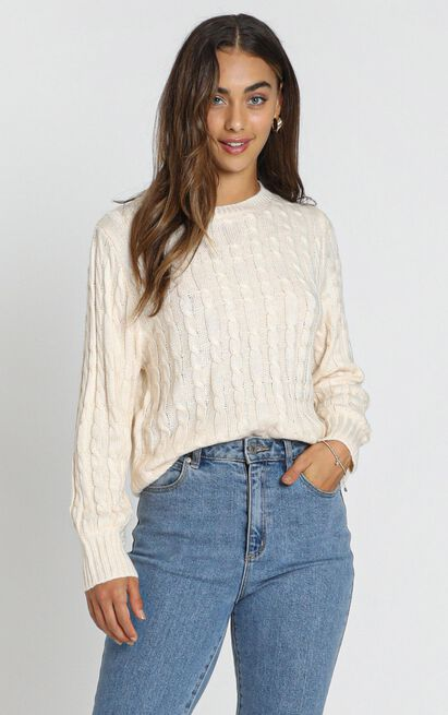 Sydney Cable Knit Jumper in almond - S/M, Cream, hi-res image number null