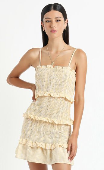 Brooke Dress in Yellow Check