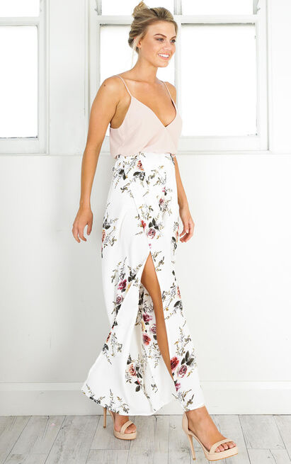 Isnt She Lovely pants in white floral -14 (XL), Cream, hi-res image number null