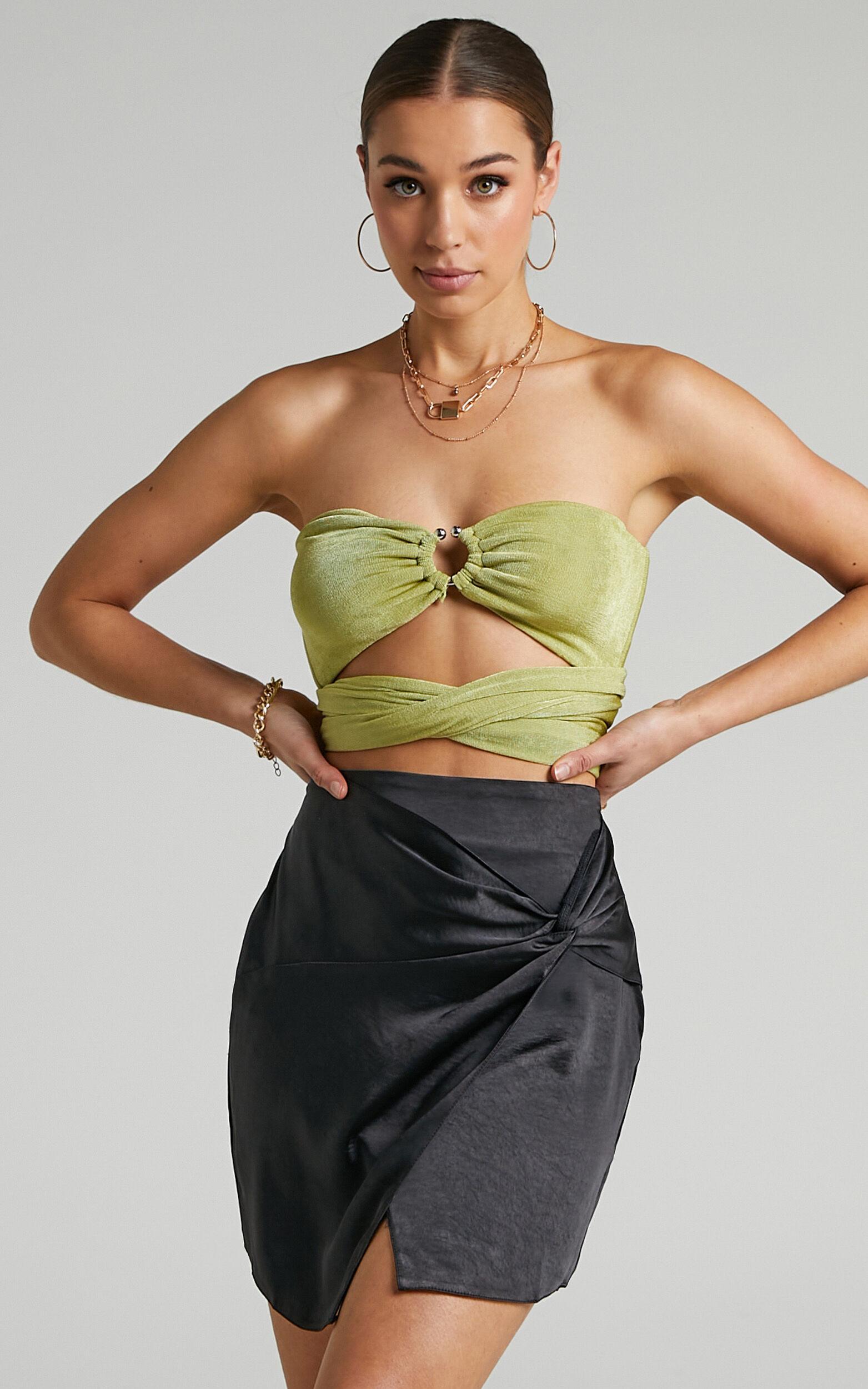 Sadie Asymmetrical Knot Mini Skirt in Black - 06, BLK1, super-hi-res image number null