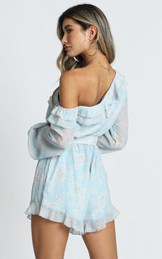 Treasure Trail Playsuit In Blue Paisley