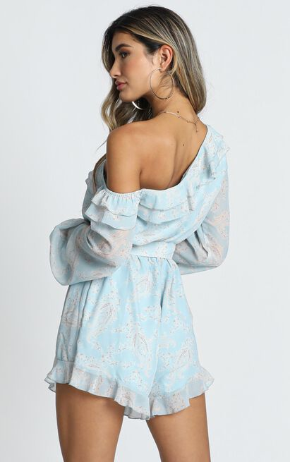 Treasure Trail playsuit in blue paisley - 16 (XXL), Blue, hi-res image number null