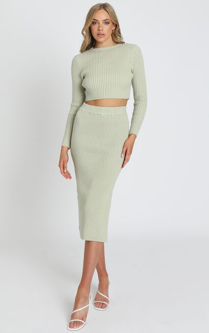 Freya Knitted Two Piece Set in Pistachio - S, Green, hi-res image number null