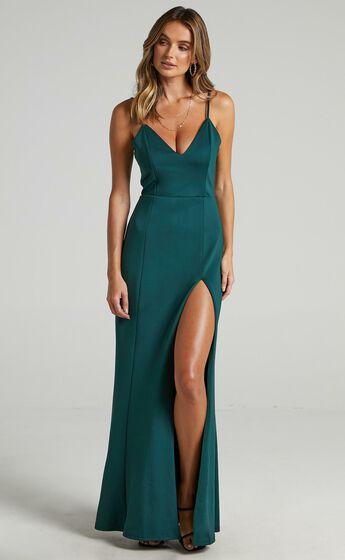 Dare To Dream Split Maxi Dress in Emerald