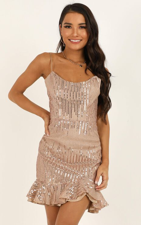 What Do You Think About Me Dress In Rose Gold Sequin